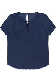 Blusa Jeans Feminina Em Algodão Com Abertura Frontal