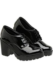 Sapato Oxford Feminino Verniz Salto Meia Pata Tratorado 33 Preto - Kanui