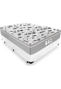 Cama Box Casal + Colchão De Molas Ensacadas - Probel - Evolution 138X188X67Cm Branco