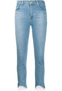 J Brand Calça Jeans Skinny Com Renda Na Barra - Azul