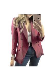 Blazer Feminino Clássico Alfaiataria Atemporal Chique Rosa Tipo Balmain Diferenciado Salmão