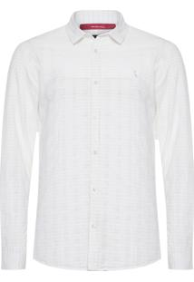 Camisa Masculina Regular Textura Horizontal - Off White