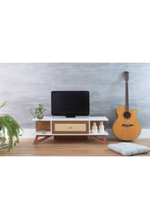 Rack Baixo Tv Stills Branco E Freijó Com Jatobá 108X33,6X35,5Cm