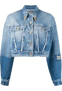Versace Jeans Couture Cropped Denim Jacket - Azul