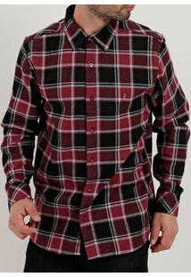 Camisa Flanela Slim Manga Longa Masculina Vermelho
