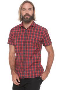 Camisa Triton Reta Xadrez Comfort Vermelha