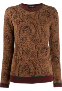 Etro Paisley Embroidered Sweater - Marrom
