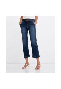 Calça Jeans Reta Com Cinto E Fivela   Marfinno   Azul   36