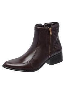 Bota Cano Curto Ousy Shoes Couro Bico Fino Café