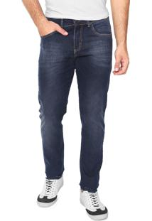 Calça Jeans Aleatory Skinny Estonada Azul-Marinho