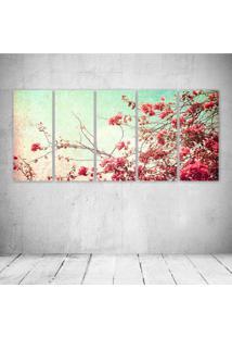 Quadro Decorativo - Flowers Retro - Composto De 5 Quadros - Multicolorido - Dafiti