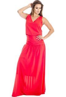 Vestido Longo Com Drapeado Ana Hickmann