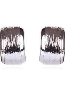 Brinco Le Briju Argola Metal Half Textura Prata