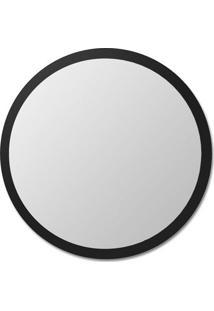 Espelho De Parede Redondo Edge - 90Xø Borda Preta Vidrotec