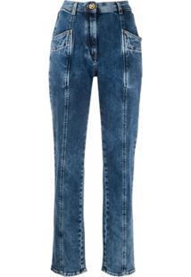 Versace Calça Jeans Cenoura Com Recortes - Azul