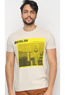 Camiseta Ellus Living In The Urban Jungle Masculina - Masculino-Bege