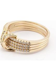 Anel Donna Semi Jóias Chanel Dourado E Branco