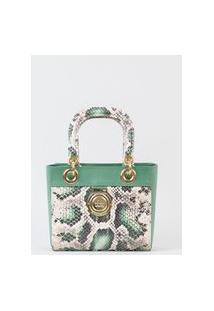 Bolsa Tote Handbag Pequena Cobra Verde Cbk