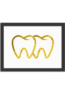 Quadro Decorativo Em Relevo Espelhado Dente Dourado Preto - Grande