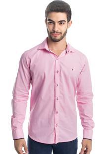 Camisa Slim Fit Tony Menswear Social Rosa