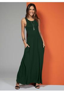 Vestido Longo Com Bolsos Verde