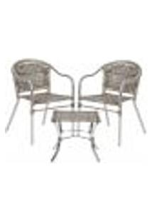 Jogo Cadeiras 2Un E Mesa De Centro Floripa Para Edicula Jardim Area Varanda Descanso - Capuccino