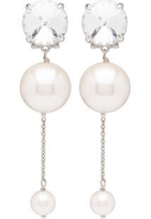 Miu Miu Embellished Pearl Earrings - Branco