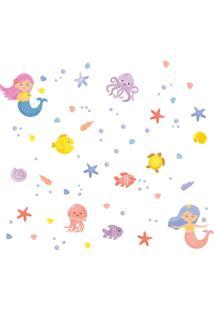 Adesivo De Parede Sereias No Mar Para Quarto E Banheiro