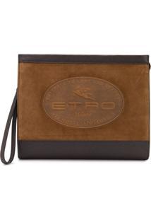 Etro Bolsa Com Logo Gravado - Marrom