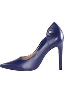 Scarpin Salto Alto Week Shoes Couro Azul Escuro