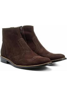 Bota Couro Cano Curto Shoestock Recortes Masculina - Masculino-Café