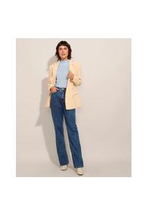 Calça Reta Jeans Com Fenda Cintura Super Alta Azul Escuro
