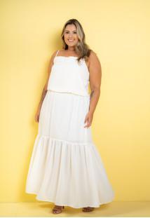Vestido Longo Renda Branco Plus Size