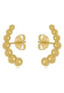 Brinco Ear Hook Bolas Di Capri Semi Jóias X Ouro Dourado
