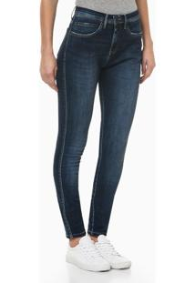 Calça Jeans Feminina Five Pockets Skinny Cintura Alta Azul Marinho Calvin Klein - 36
