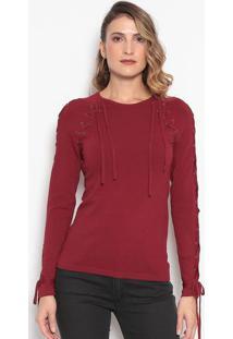 Blusa Em Tricô Com Amarração - Vermelho Escurodudalina