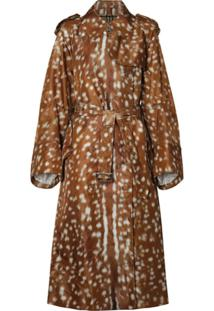 Burberry Trench Coat Com Estampa - Marrom
