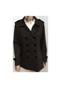 Trench Coat Feminino Suede Jfsi80577 Preto