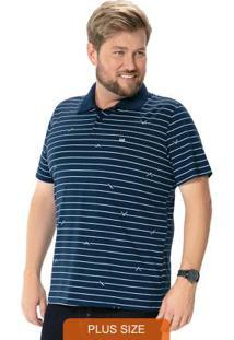 Camisa Azul Marinho Polo Tradicional Listrada