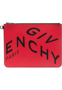 Givenchy Clutch De Couro Com Estampa De Logo - Vermelho