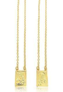 Escapulário Lys Lazuli N. Sra. Carmo Sagrado Coração Jesus Banhado Ouro - Unissex