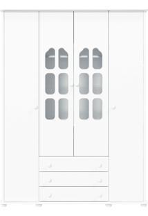 Guarda-Roupa 4 Portas Amore Branca-Acetinado Matic Móveis