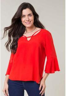 Blusa Tecido Mangas Alongadas Vermelho
