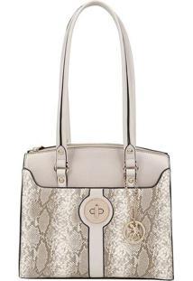 Bolsa Animal Print Com Bag Charm- Bege & Bege Escurofellipe Krein