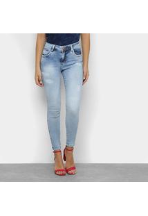 Calça Jeans Skinny Zune Estonada Cintura Média Feminina - Feminino-Azul