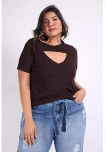 Blusa Kauê Plus Size Canelada Feminina - Feminino-Marrom