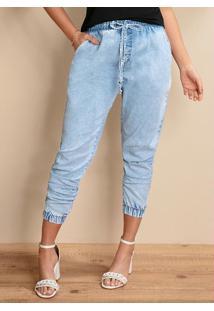 Calça Jogger Jeans Claro Cintura Alta Com Bolsos