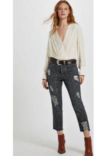 Calça Jeans Boy Estampa Onça Denim Onça - 36