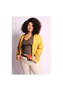 Jaqueta Almaria Plus Size Munny Bomber Estampada Amarelo
