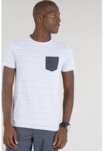 Camiseta Masculina Com Bolso Contrastante Manga Curta Gola Careca Cinza